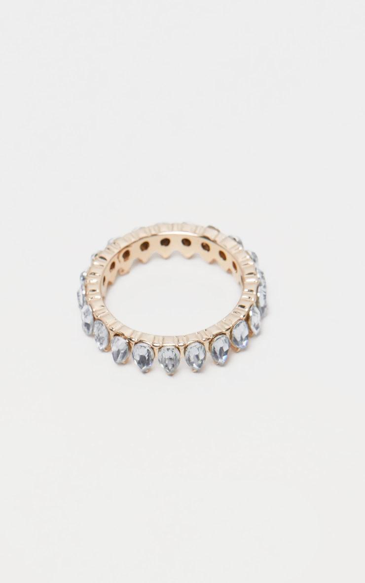 Gold Tear Drop Diamante Ring 3