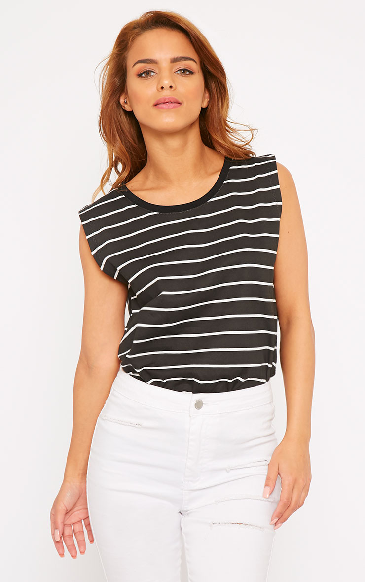 Lisbet Black Stripe Vest Top 3