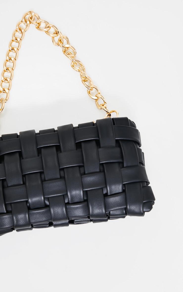 Black Oversized Weave With Gold Chain Shoulder Bag 3