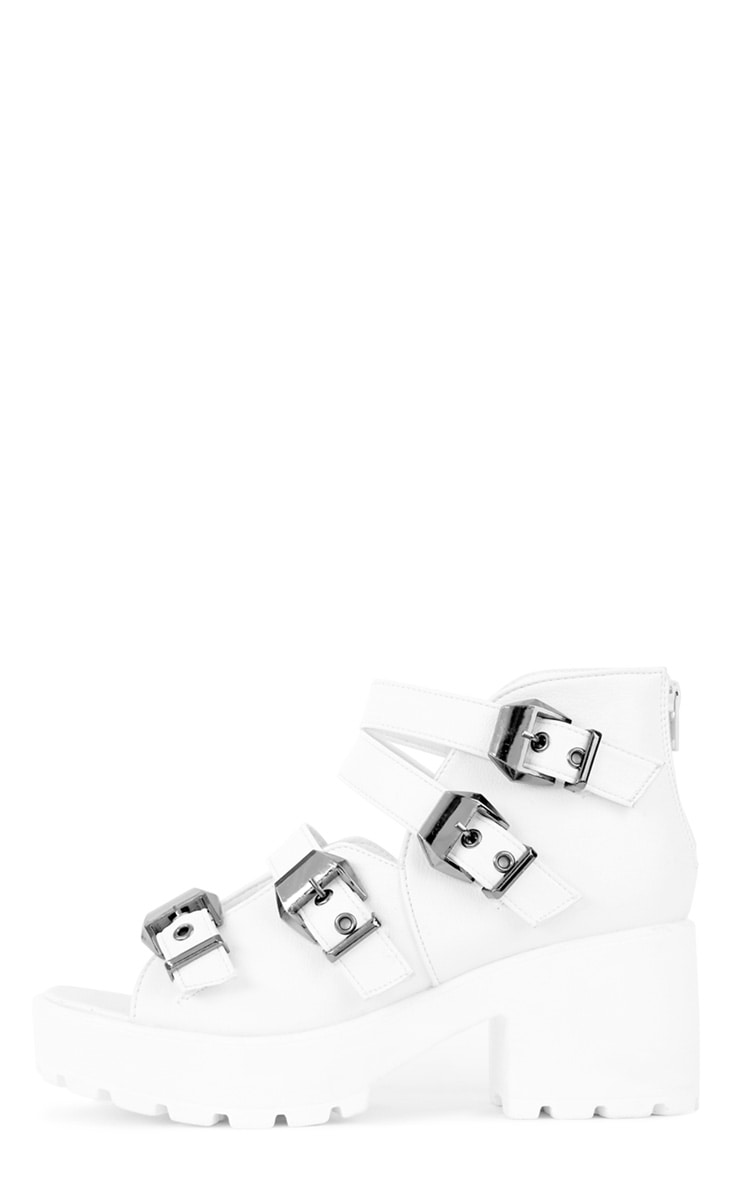 Regan White Cleated Buckle Chunky Sandals 1