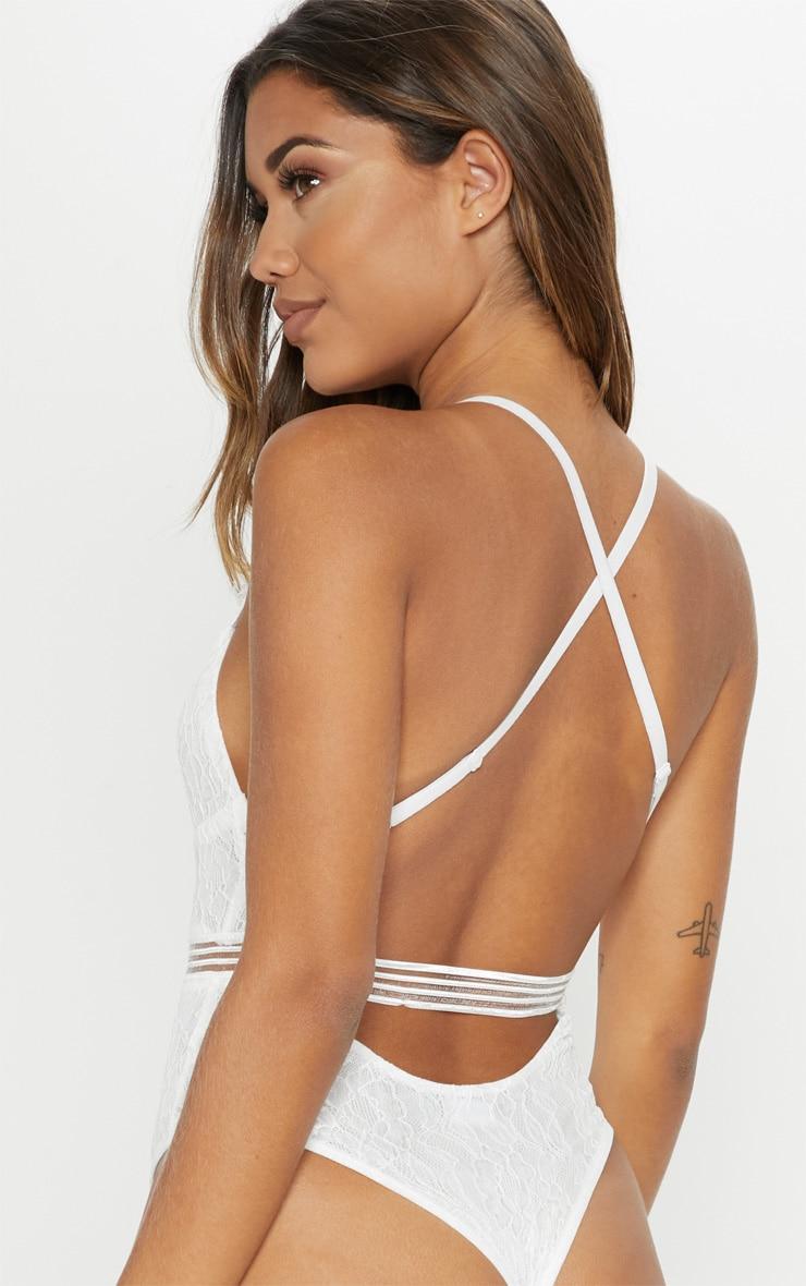 Emsie White Cut Out Detail Lace Thong Bodysuit 2