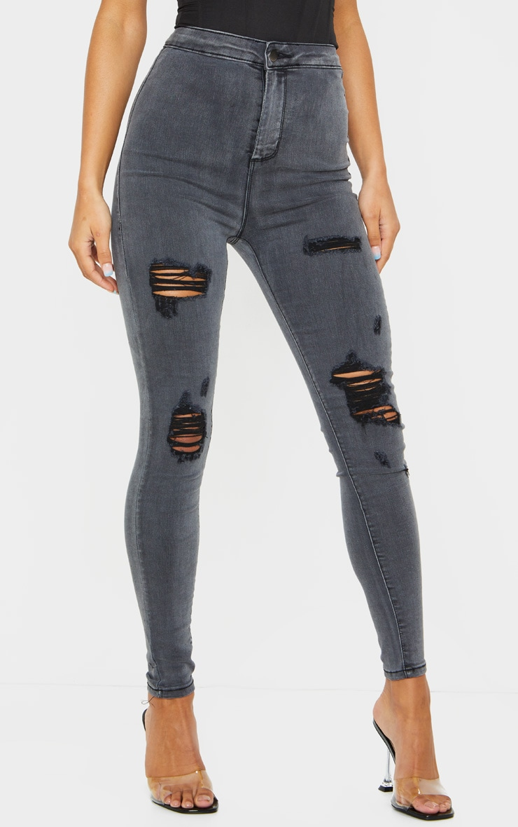 PRETTYLITTLETHING Washed Black Distressed Disco Skinny Jean 2