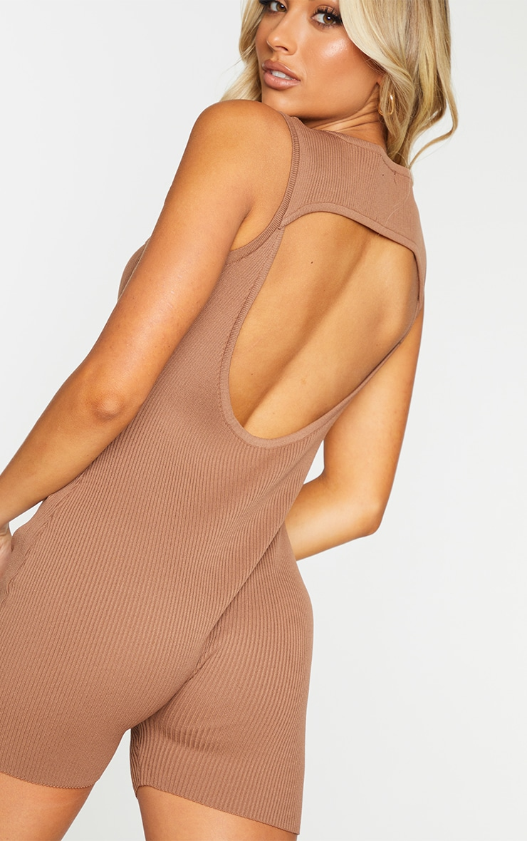 Chocolate Ribbed Knitted Cut Out Unitard 4