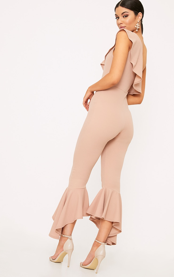 Nude One Shoulder Frill Detail Flared Ankle Jumpsuit 2