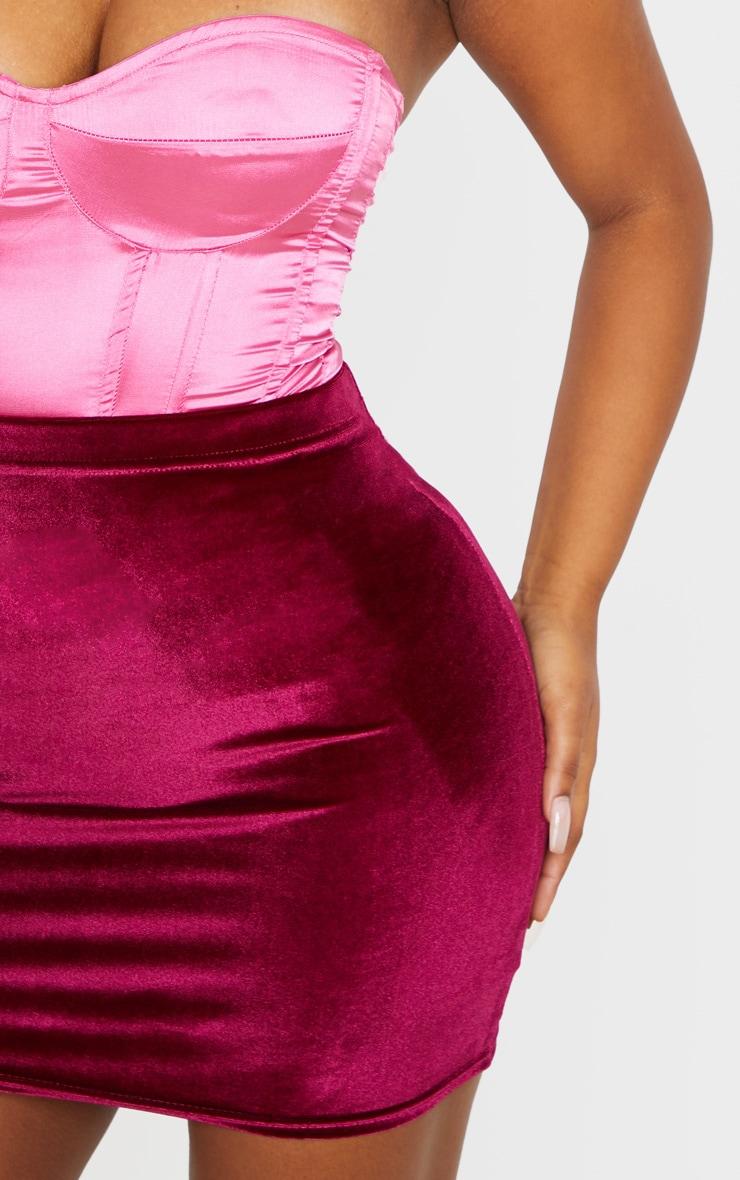 Burgundy Basic Velvet Mini Skirt 6