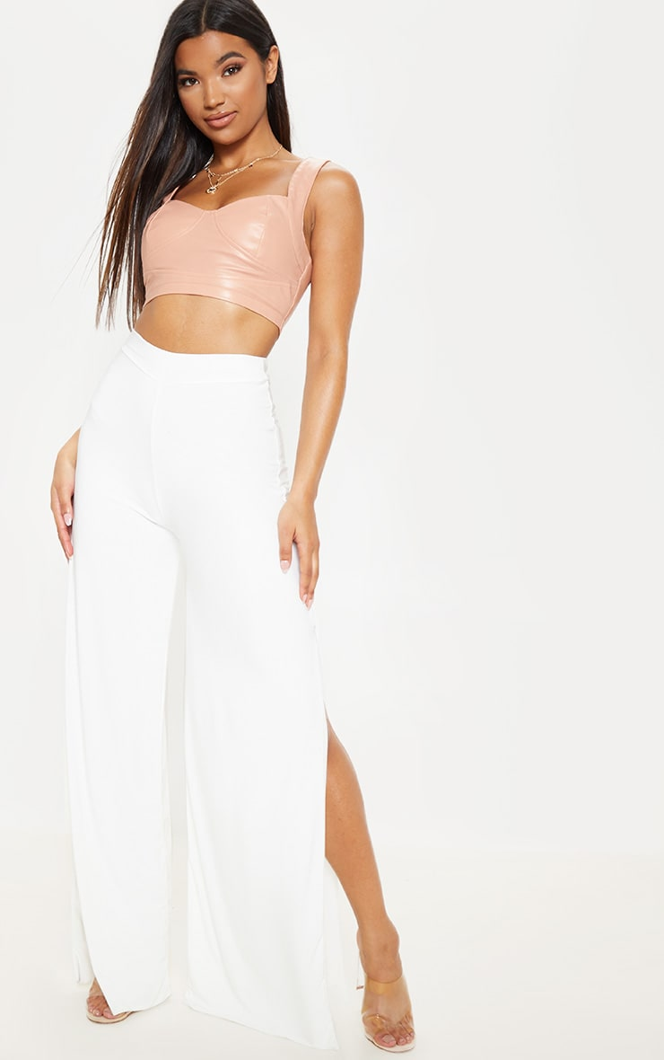 Darsee Cream Side Split Slinky Trousers 1