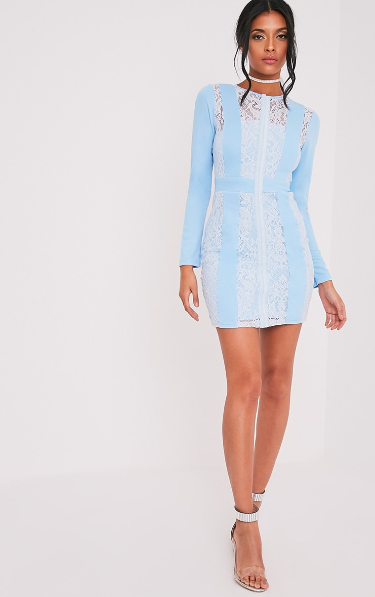 Issie Powder Blue Long Sleeve Lace Panel Bodycon Dress 5