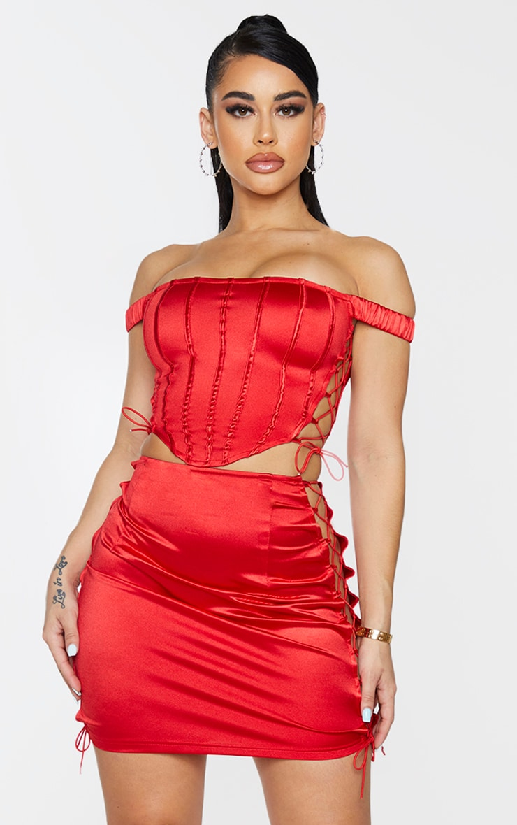 Shape Red Strappy Side Corset Detail Crop Top 1