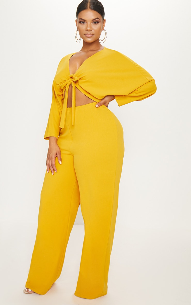 Plus Mustard Crepe Batwing Cut Out Jumpsuit 4