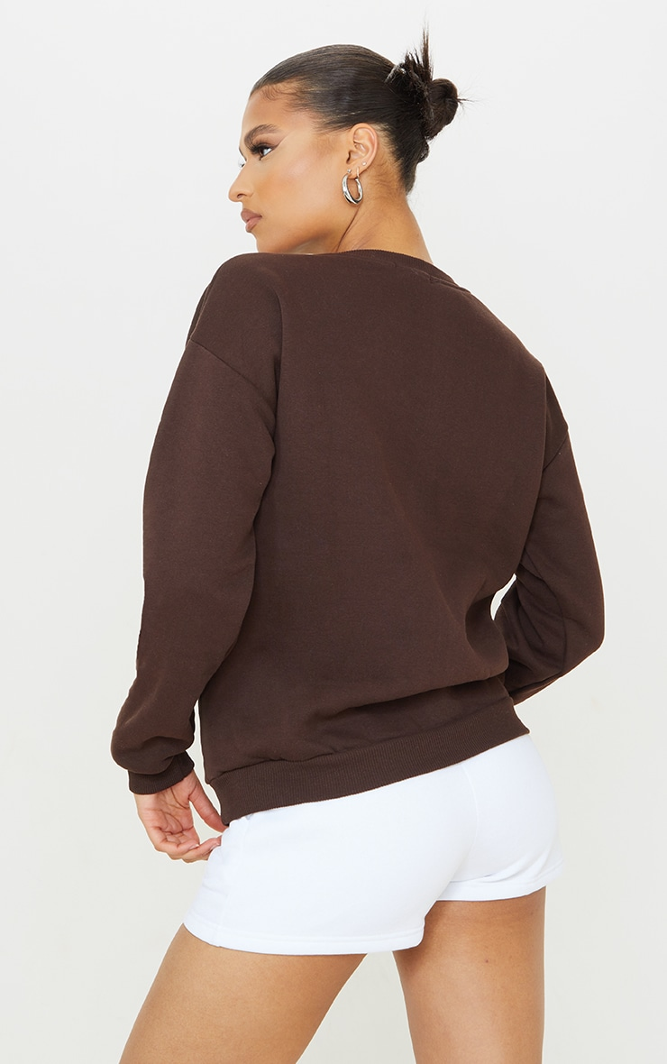 PRETTYLITTLETHING Chocolate Luxe Good Small Print Text Sweatshirt 2