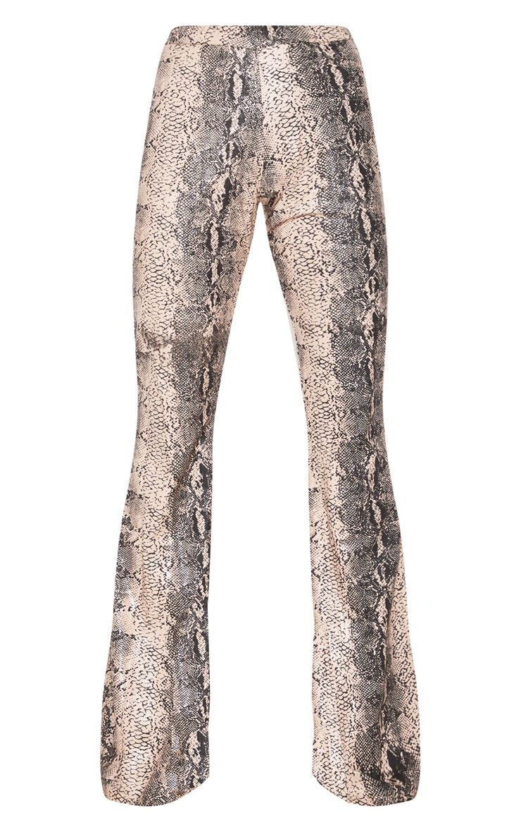 Grey Snake Faux Leather Flared Trouser 4