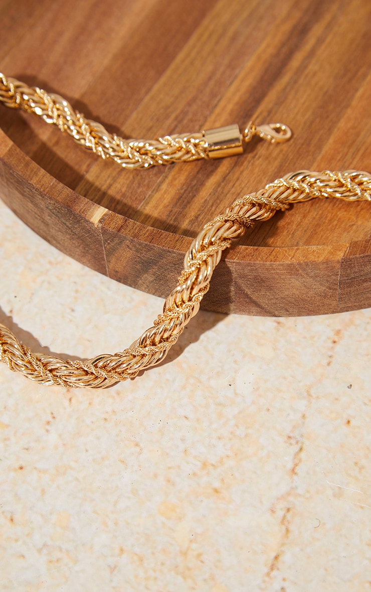 Gold Chunky Rope Chain Twist Necklace 4