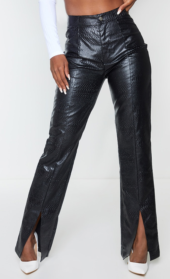 PREMIUM Black Faux Leather Croc Split Hem Skinny Trousers 2