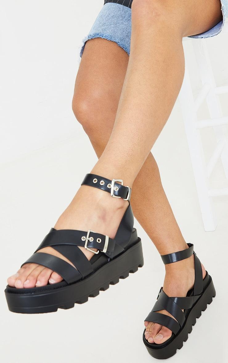 Black Cleated Flatform Gladiator Sandals 2