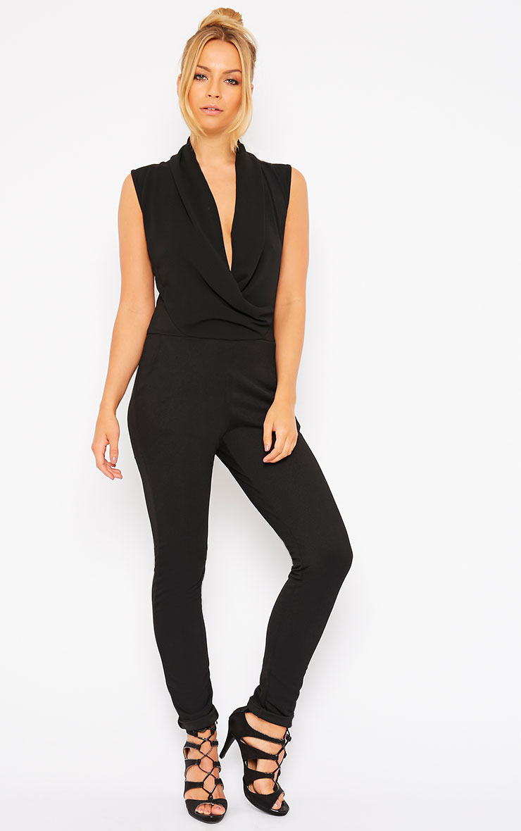 Julia Black Cowl Neck Jumpsuit 1