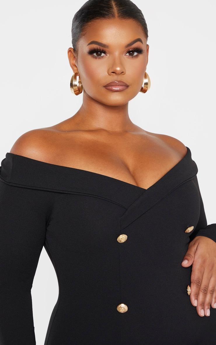 Plus Black Bardot Gold Button Blazer Dress 5
