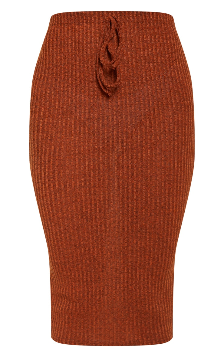 Orange Knitted Ribbed Midi Skirt  3