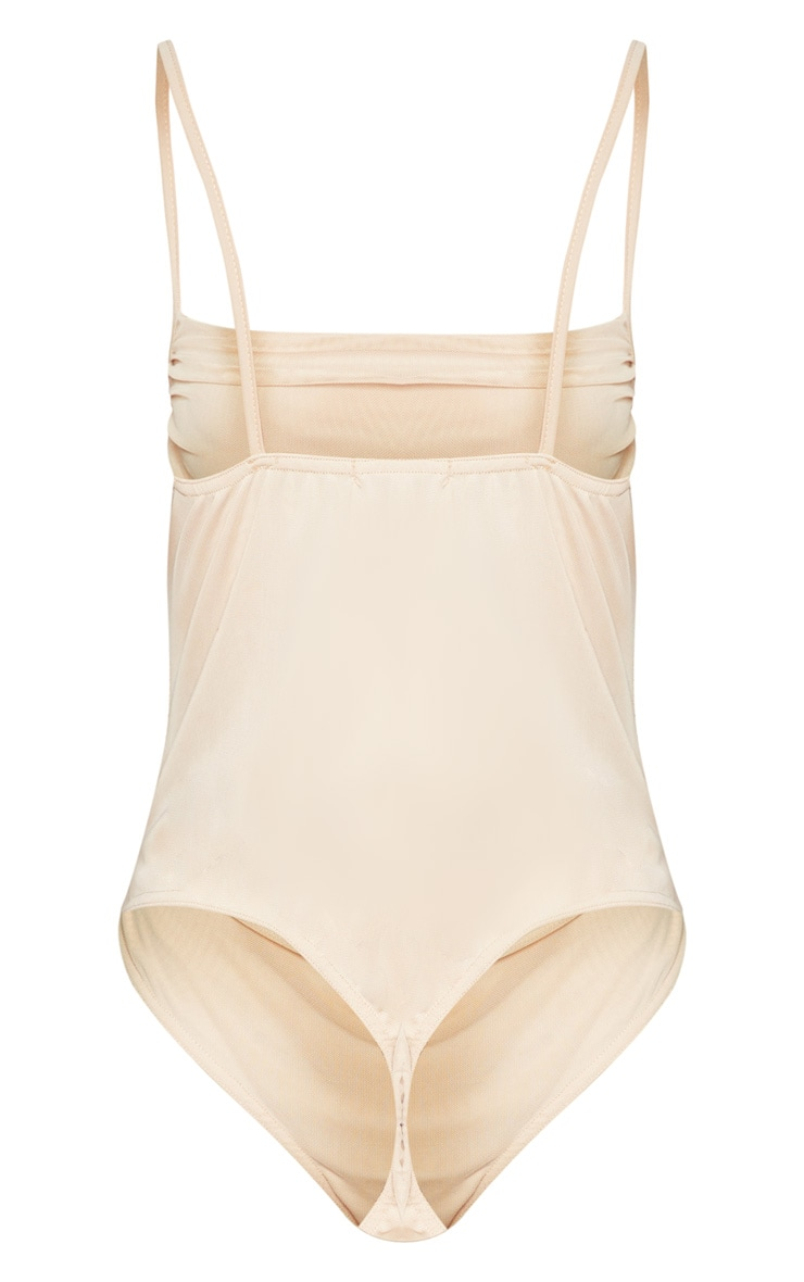 Nude Mesh Ruched Detail Bodysuit 4