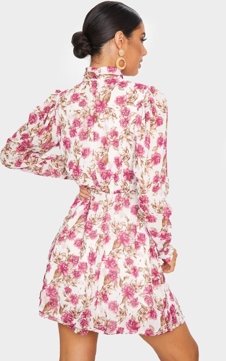 Nude Floral Print High Neck Chiffon Skater Dress 2