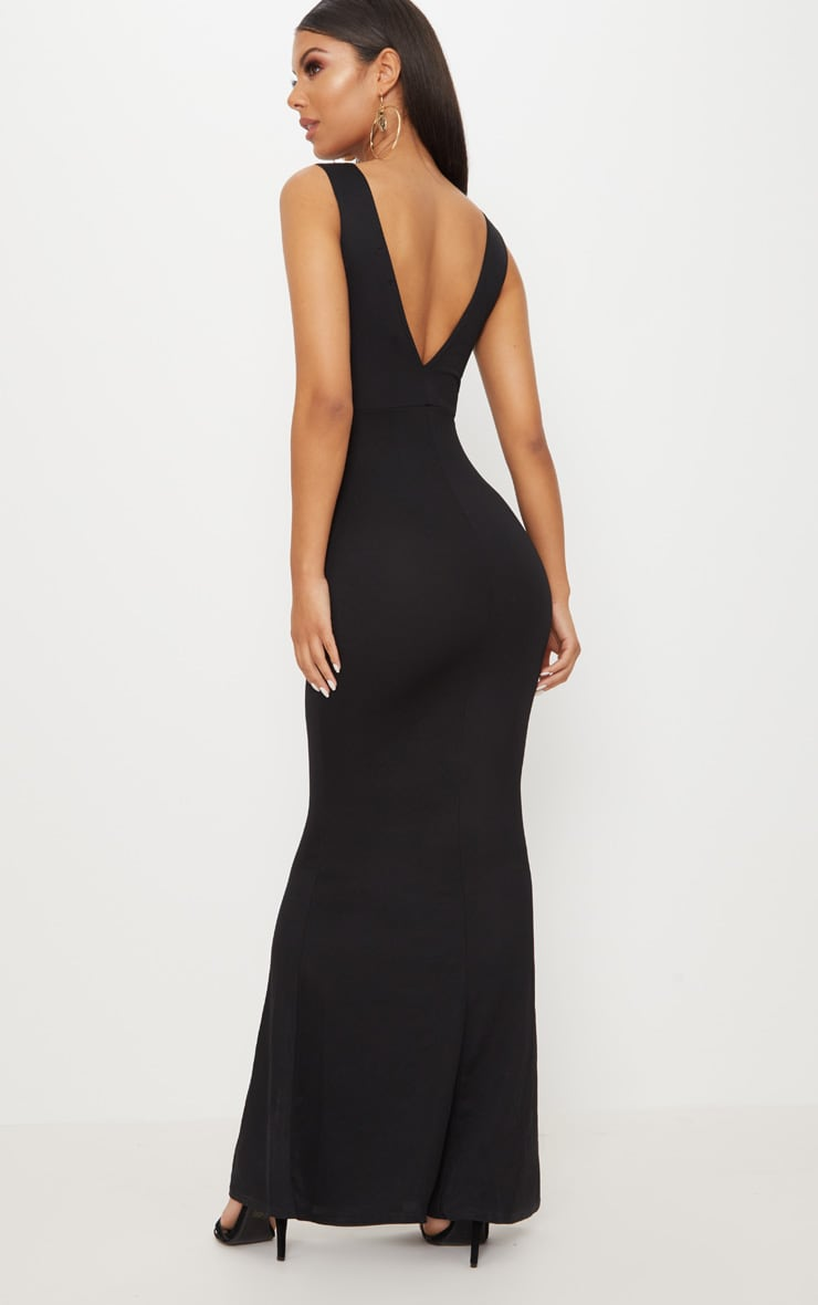 Black V Bar Plunge Maxi Dress 2