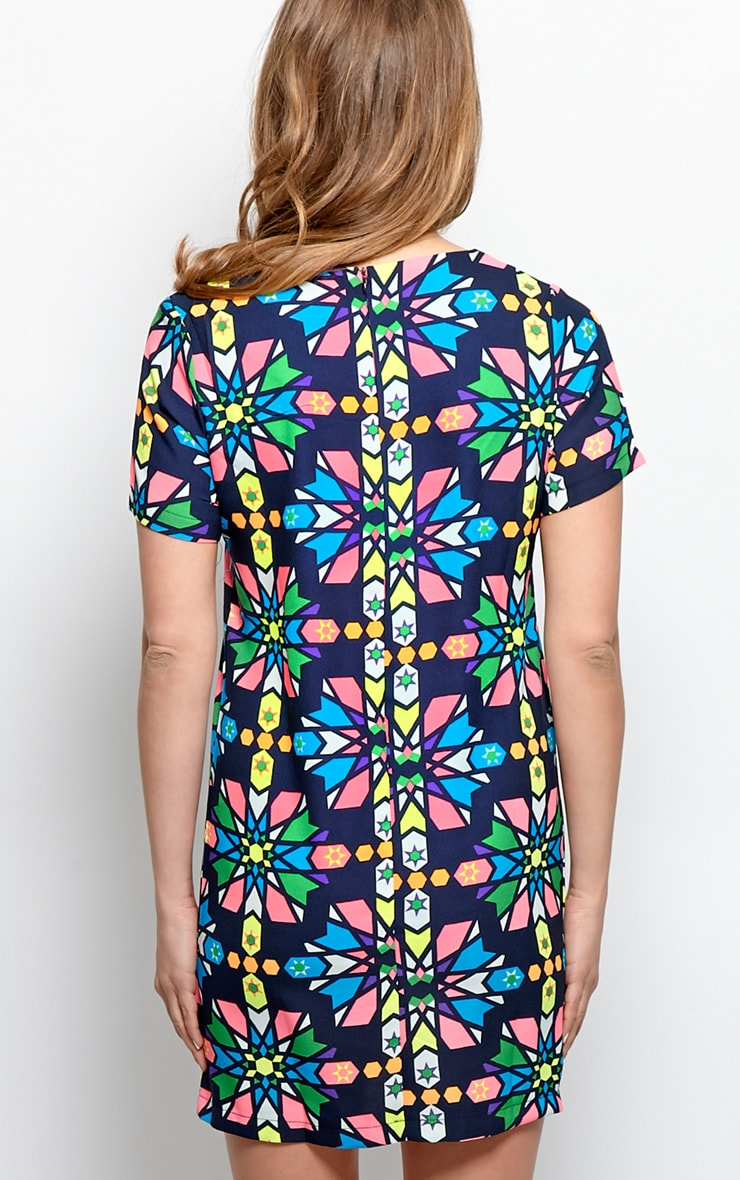Pixie Navy Abstract Shift Dress 2