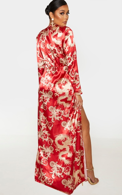 Red Dragon Print Satin Long Sleeve Wrap Maxi Dress