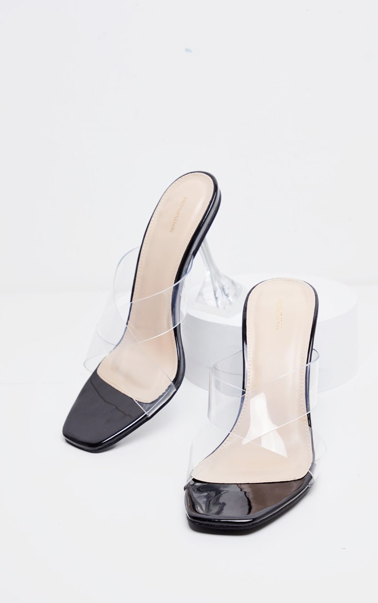 Black Cross Strap Clear Mule Sandals 3