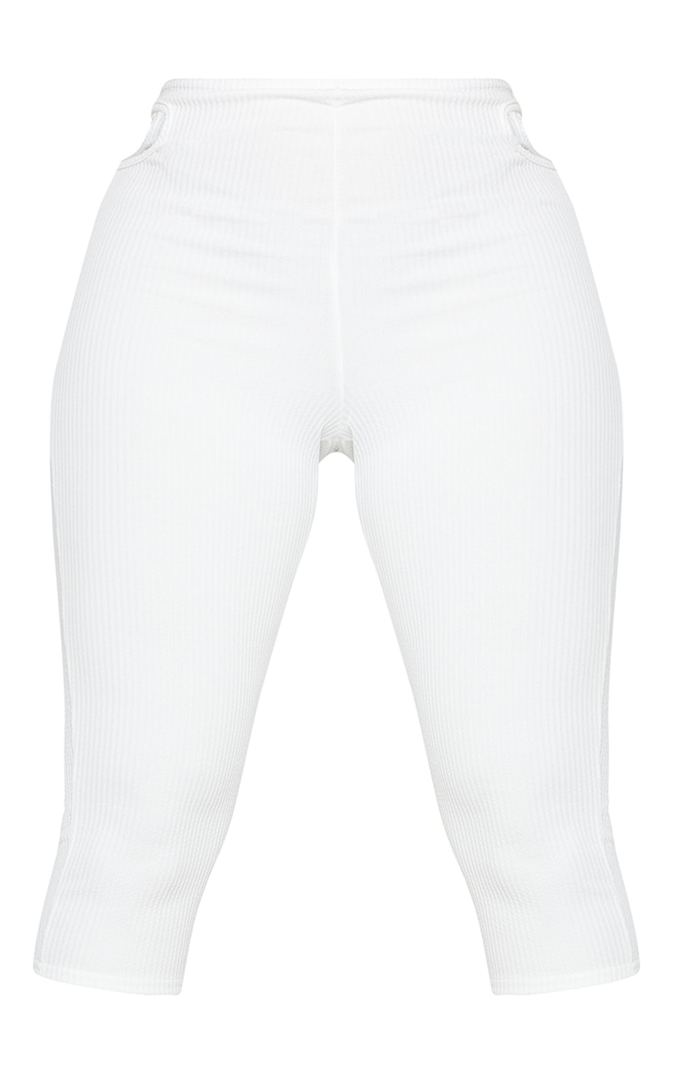 Shape White Textured Rib Cut Out Side Cropped Leggings 5