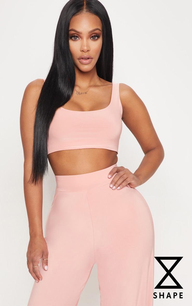 Shape Pink Slinky Scoop Neck Crop Top
