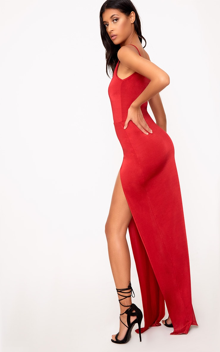Red Slinky Extreme Split Maxi Dress 2