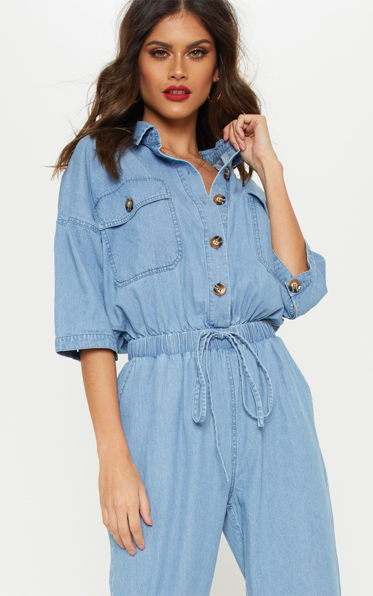 Light Wash Tortoise Button Chambray Jumpsuit  5