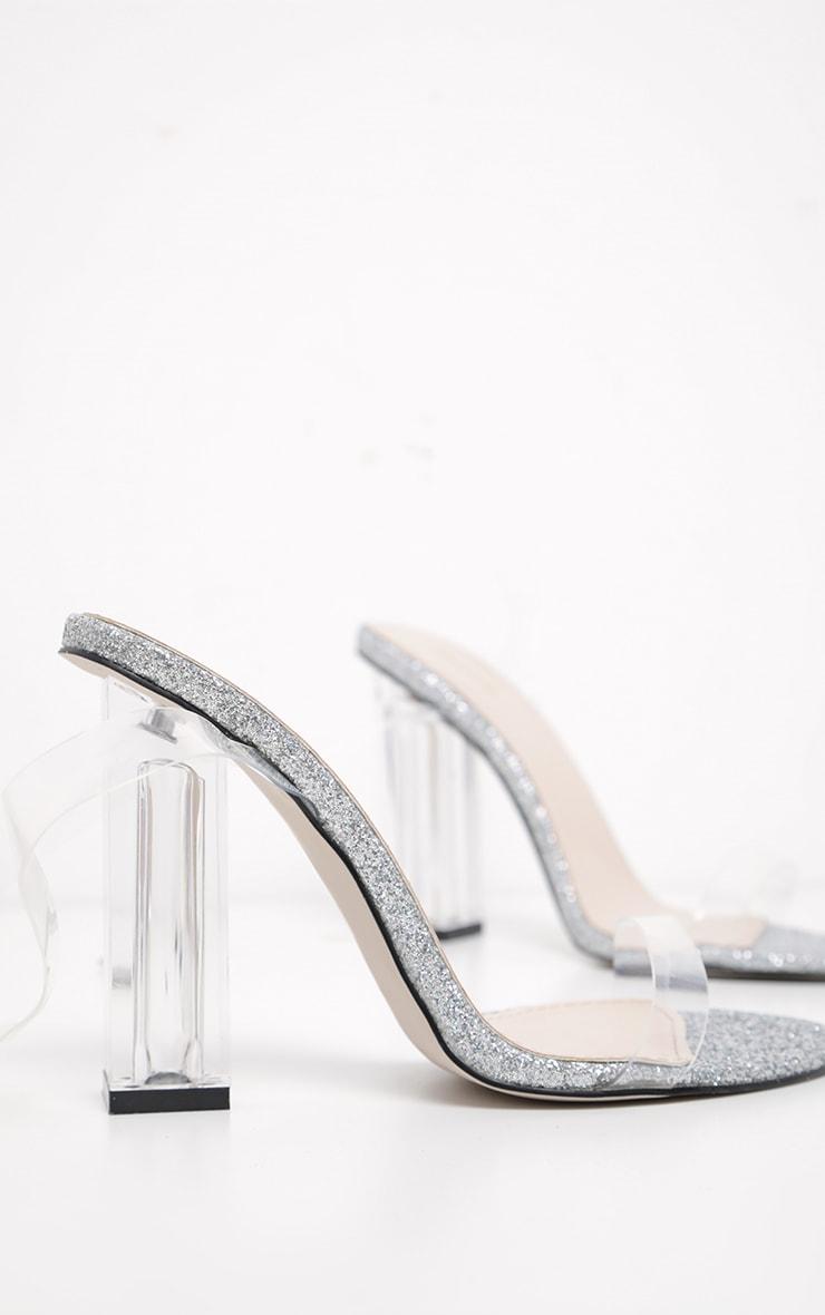 Silver Glitter Sole Clear Heels 3