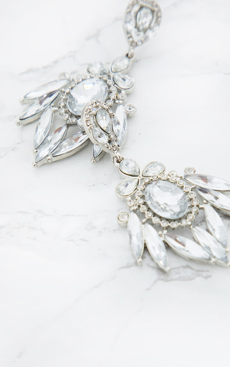 Silver Diamante Statement Earrings 4