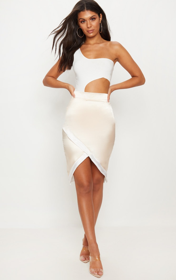 Cream Contrast Hem Wrap Skirt