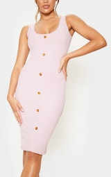 Dusty Lilac Ribbed Scoop Tortoise Shell Button Bodycon Dress 5