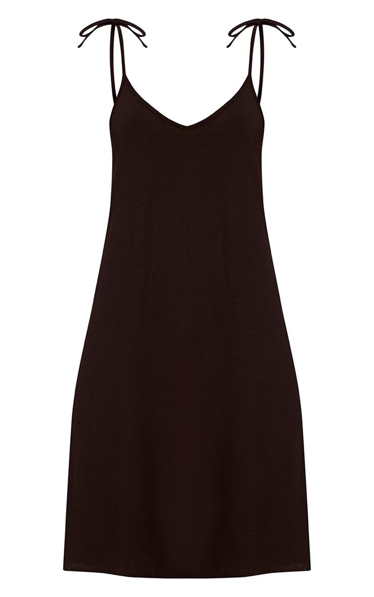 Shandra Black Jersey Tie Strap Swing Dress 3