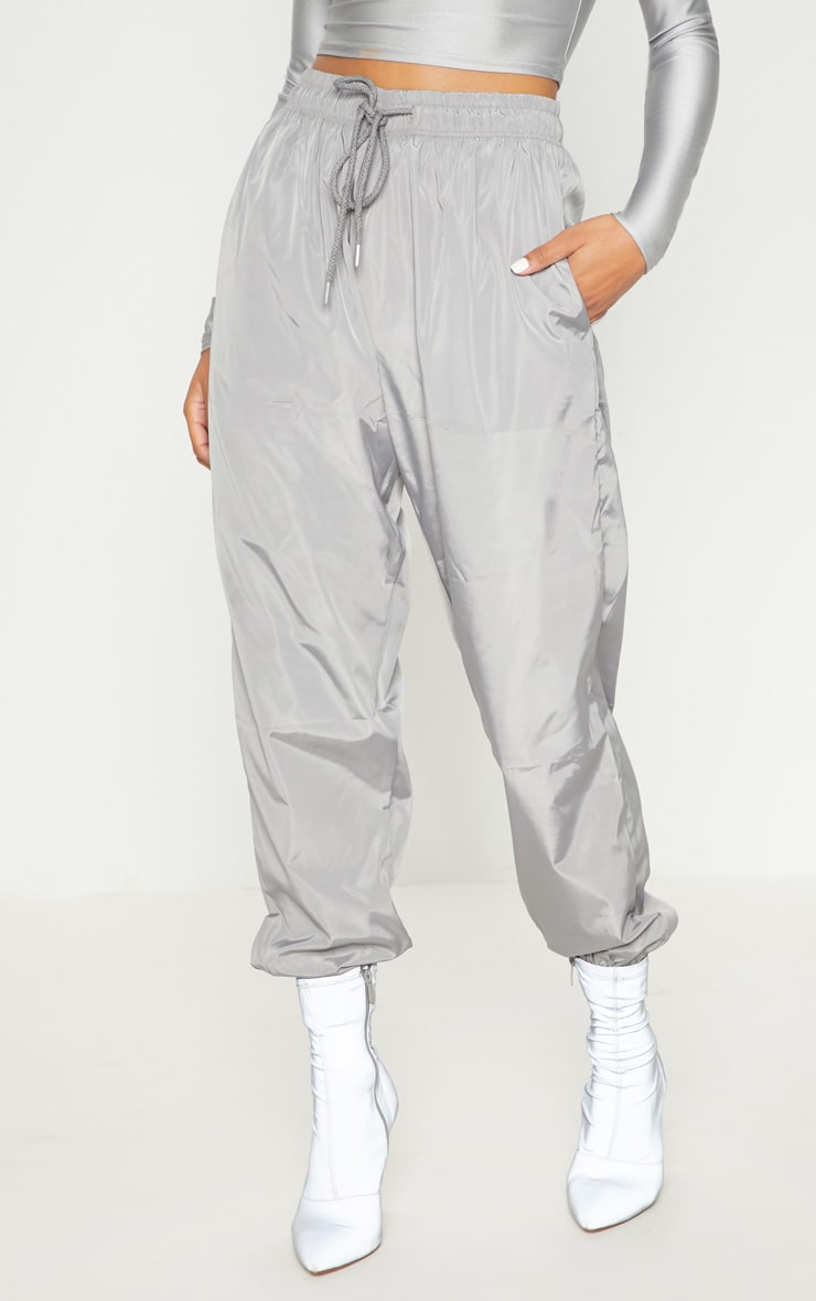 Silver Grey Drawstring Waist Shell Trouser 2