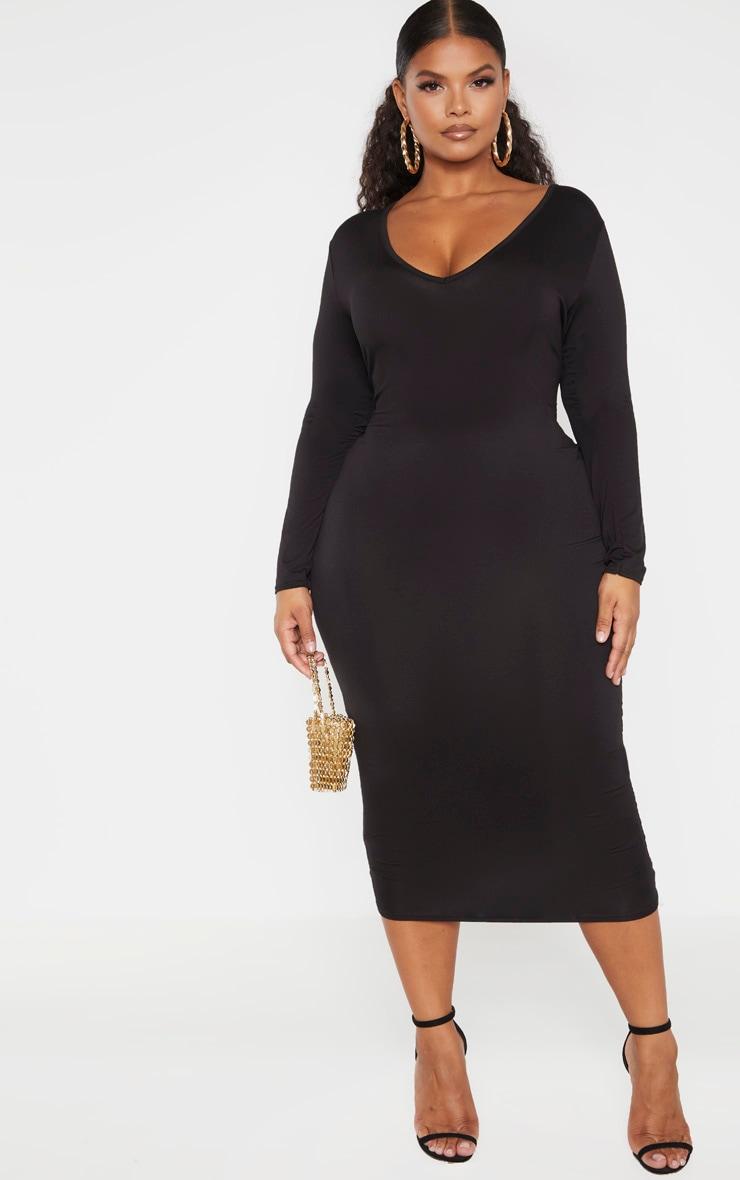 Plus Black Jersey V Neck Long Sleeve Midi Dress 1