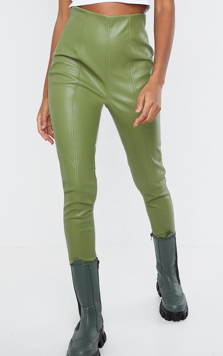 Military Khaki  Faux Leather Stretch Leggings 2