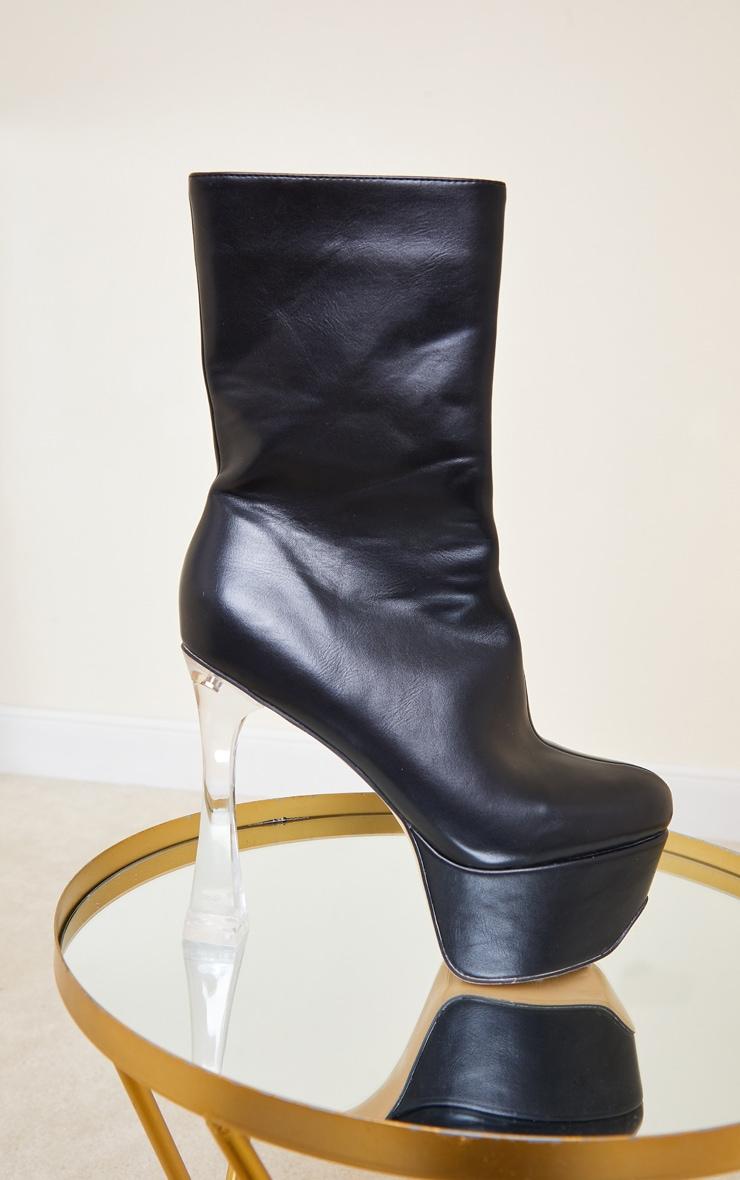 Black Extreme Platform Clear Heel Ankle Boot 3