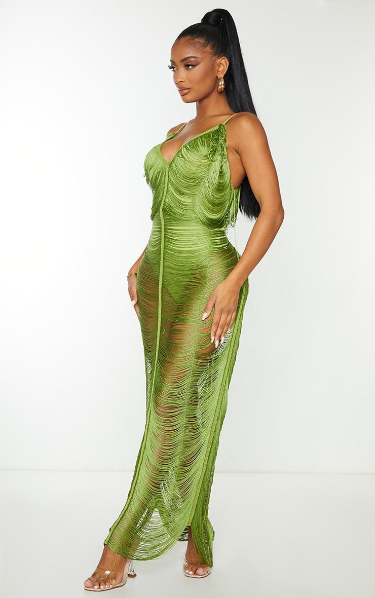 Shape Olive Fringe Detail Midaxi Dress 3