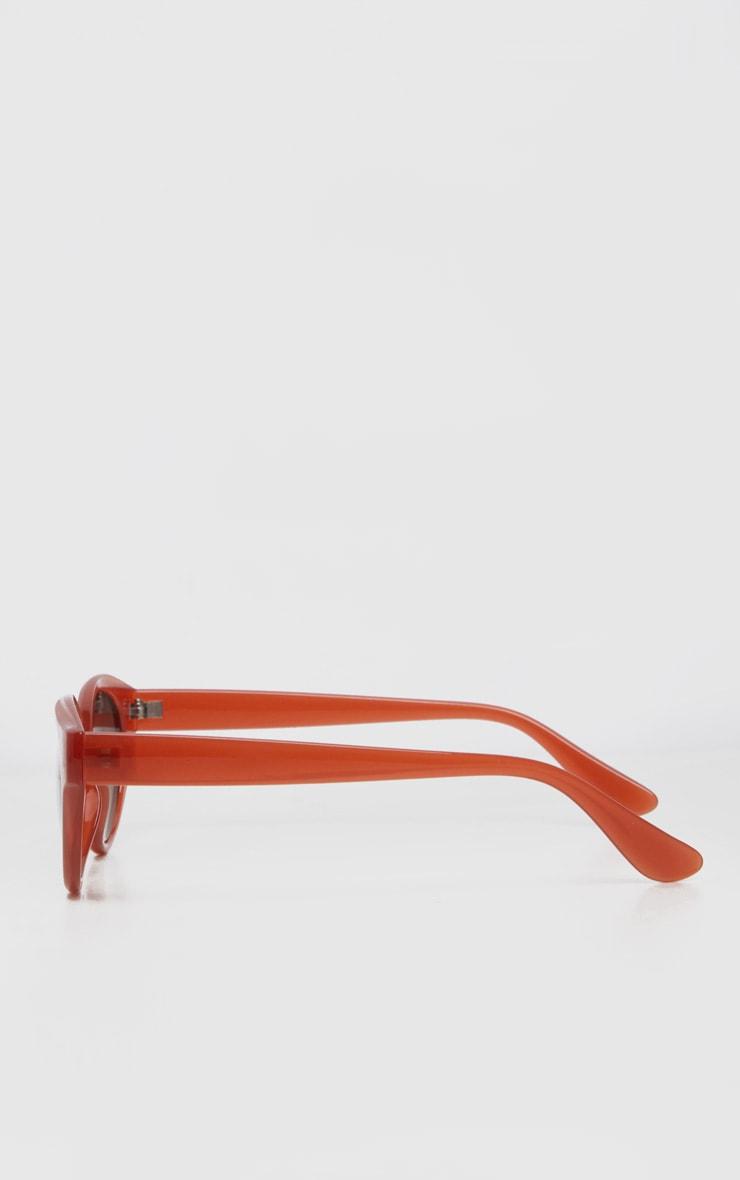 Red Plastic Frame Oval Sunglasses 4