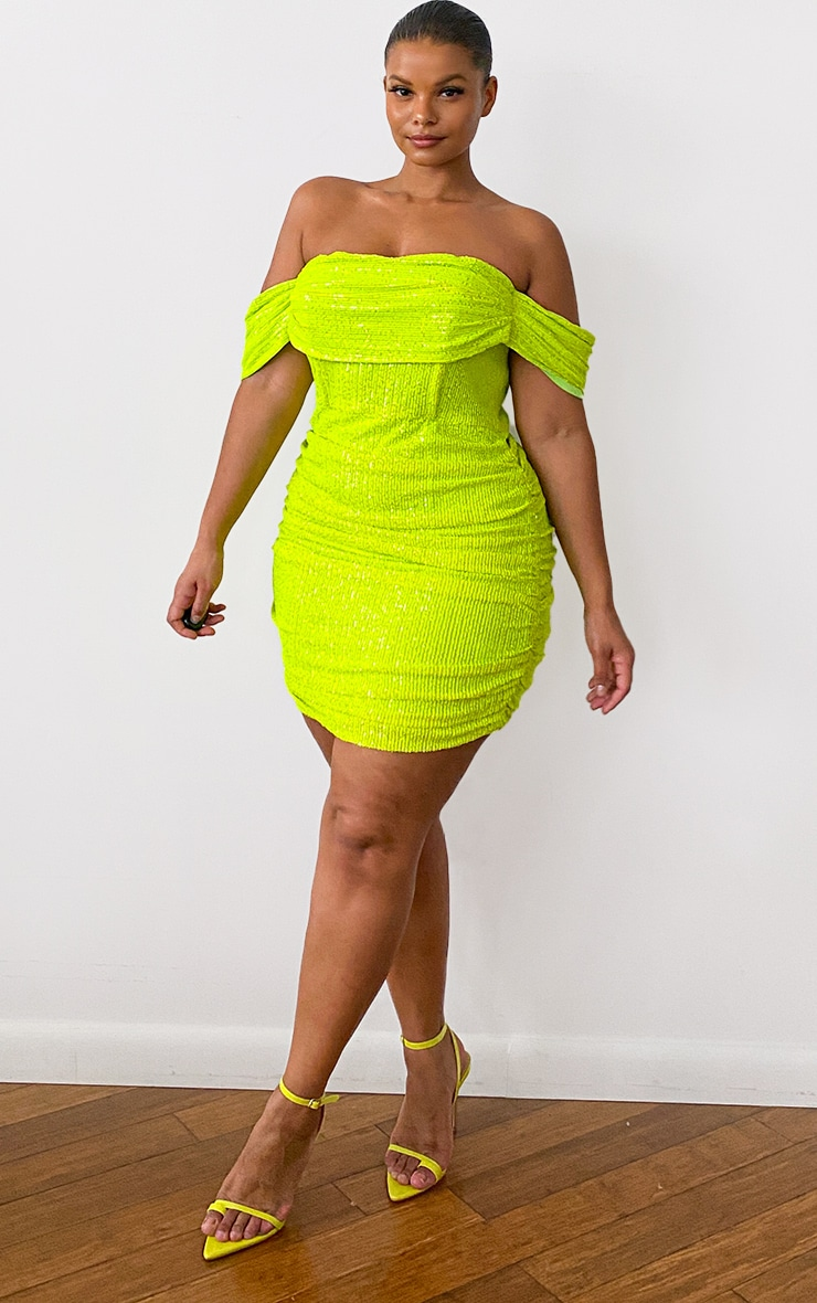 Plus Lime Sequin Bardot Bodycon Dress 3