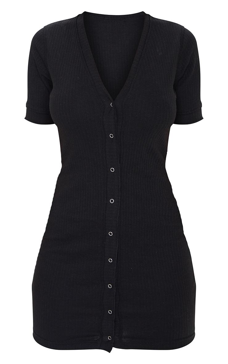Black Thick Rib Popper Frill Edge Bodycon Dress 5