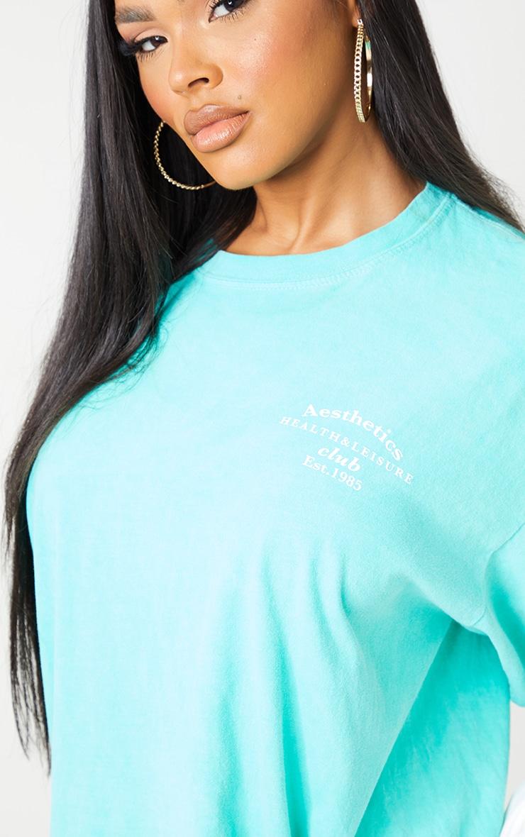 Aqua Blue Health Club Print Washed T Shirt 4