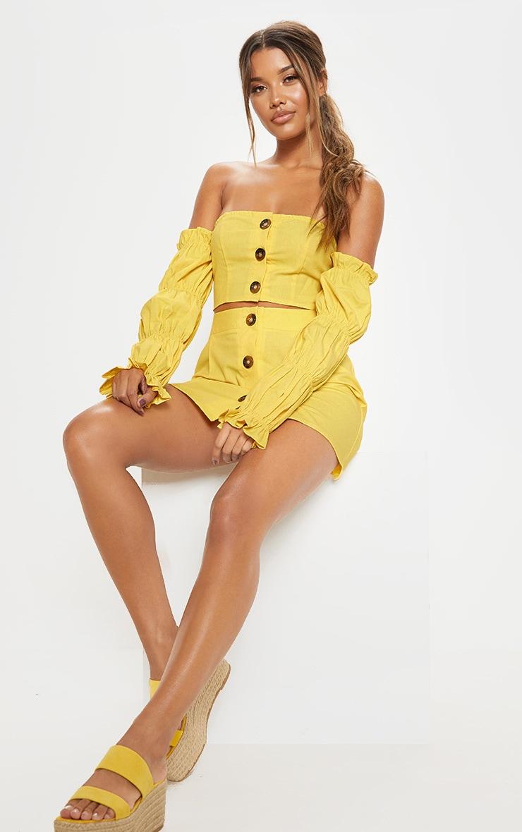 Yellow Cotton Button Detail Puff Sleeve Shirt 4