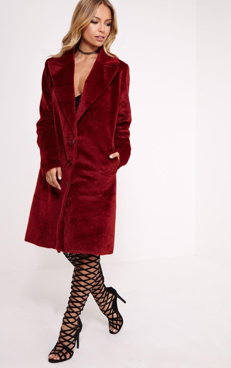Perdita Oxblood Faux Pony Skin Coat 3