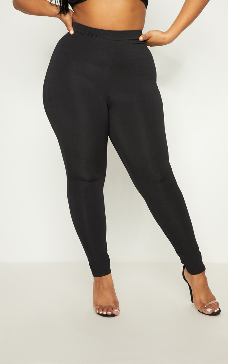 Plus Black Slinky High Waisted Leggings 2