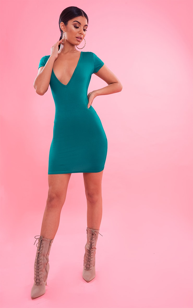 Bright Green  Plunge Front Cap Sleeve Bodycon Dress 5