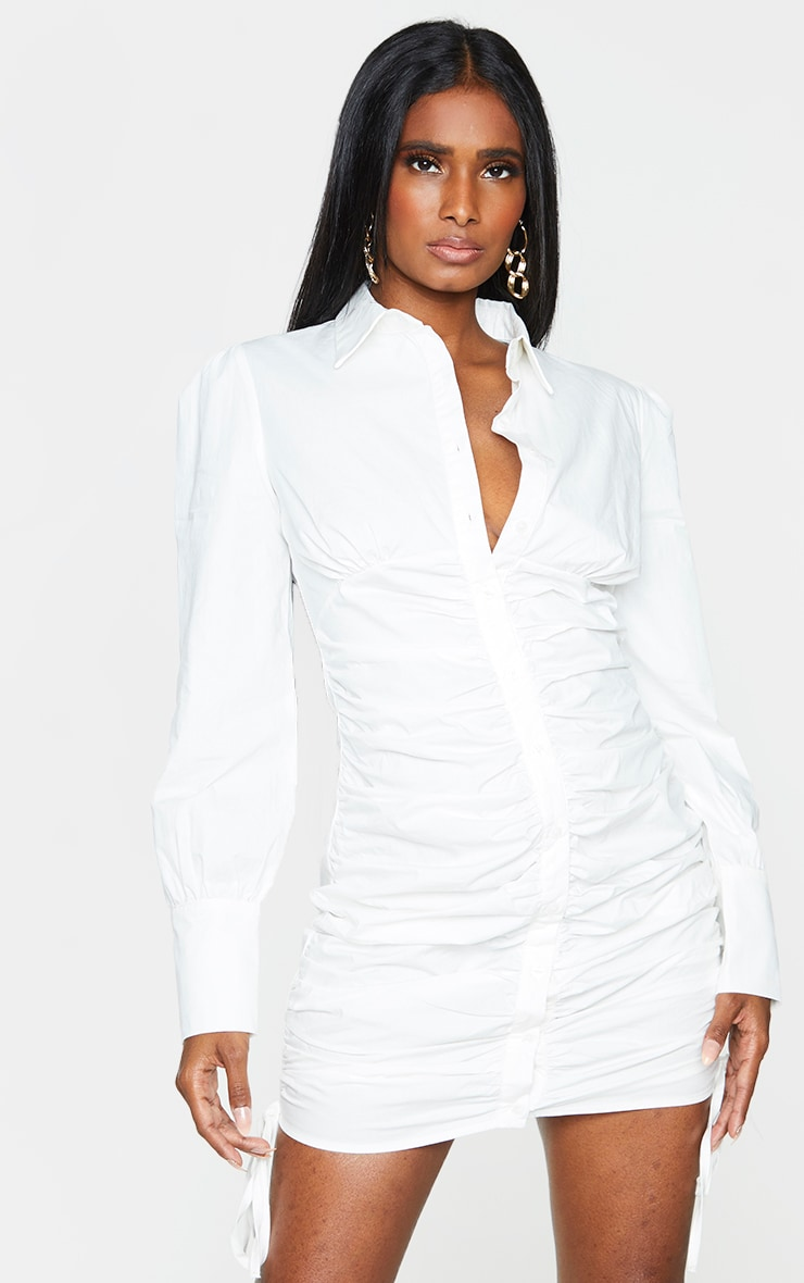 White Ruched Long Sleeve Shirt Dress 1